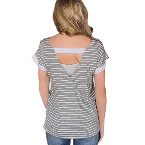 Bekleidung Longra❤️❤️ Longra Damen Kurzarm T-Shirt Elegant V Ausschnitt Rückenfrei Shirt Oversize Sweatshirt Damen Gestreift Bluse Shirt Oberteil Jumper Tops Pullover T-Shirt (Gray, L) (Gestreift Des Die Team Farben Grau)