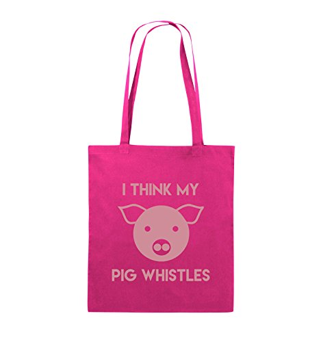 Comedy Bags - I THINK MY PIG WHISTLES - Jutebeutel - lange Henkel - 38x42cm - Farbe: Schwarz / Pink Pink / Rosa
