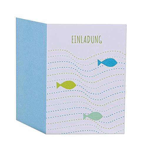 Einladungskarten zur Kommunion, Konfirmation oder Taufe - Fische im Wasser Blau - zum Selbstbedrucken