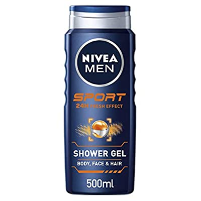 NIVEA MEN Sport Shower Gel Pack of 6 (6 x 500ml), Anti-Bacterial Body Wash with Lime Scent, All-in-1 Shower Gel for Men, Strong NIVEA MEN Shower Gel