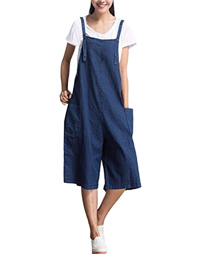 4c89653658e StyleDome Women s Retro Loose Casual Baggy Dungaress Sleeveless Strap Long Jumpsuit  Playsuit Trousers Pants Overalls Denim Blue UK 14 - Buy Online in Oman.