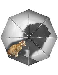 Wamika - Paraguas automático para Gato, diseño de león, Resistente al Viento, Resistente