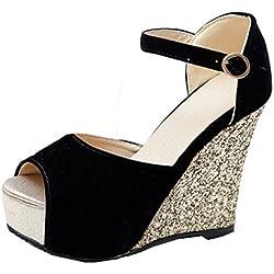 YE Damen Peep Toe High Heel Plateau Wildleder Nubukleder Knöchelriemchen Keilabsatz Pailletten Pumps Sommer Sandalen Schuhe (38EU, Schwarz)