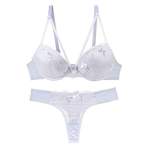 Vertvie Damen BH Set Spitze V Push Up Bügel BH Bra und Slip Unterwäsche Lingerie Panty Dessous Sets(Weiß 4, 75C) -