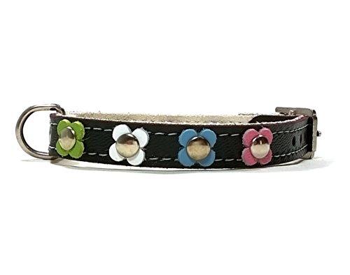 Superpipapo Handgemacht Schwarz Leder Hundehalsband für Welpen, Chihuahuas und Kleine Hunde, Vintage Design Floral mit Verschiedenen Pastel Farben Blumen, 35 cm: XS - Halsumfang 25-30 cm - Breit 14mm