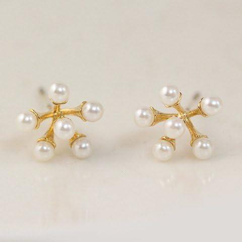 Carino perla di Faux floreali Orecchini, Perla orecchini per le donne, le ragazze