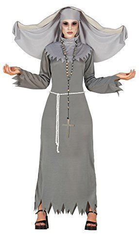 ing Nonne religiös Geist Halloween Kostüm Kleid Outfit 14-16-18 - grau, UK 12-14 ()