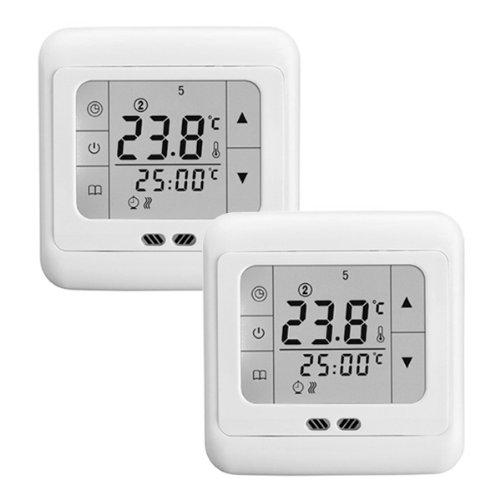 Digital Raumthermostat Heizung Hintergrundbeleuchtung 16A LCD Touch Screen Temperaturrgeler(2 PACK)