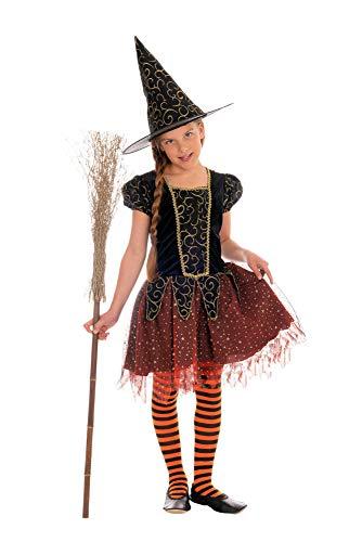 Halloween Hexe Kostüm - Magicoo Sternenhexe Hexenkostüm Kinder Mädchen orange-schwarz-Gold - Kleid & Hut - Gr 92 bis 140 - Halloween Hexe-Kostüm Kind (134/140)