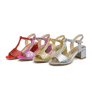 LvYuan Sandali-Formale Casual Serata e festa-Club Shoes-Quadrato-Lustrini Materiali personalizzati-Rosa Rosso Argento Dorato Pink