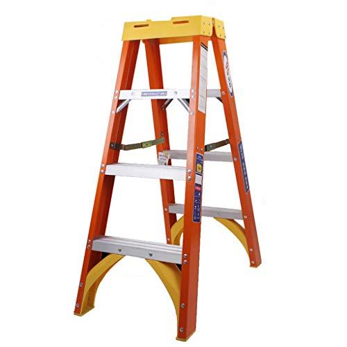 Escalera plegable Escalera de tijera de fibra de vidrio, 3 escalones, escalera plegable compacta de servicio pesado con plataforma, interior al aire libre, naranja, 150 kg