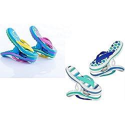 Pinzas para toalla de playa con diseño de Boca, 2 pares de flips, rayas azules y rosas