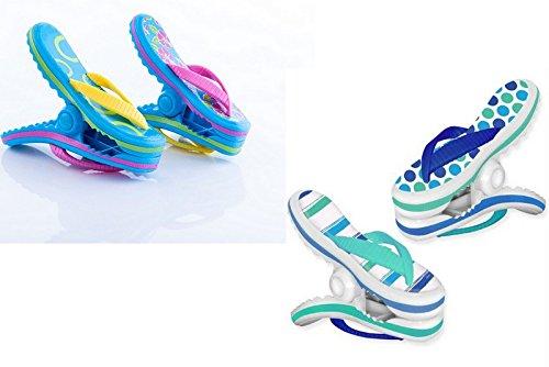 Boca Clips Strandtuch-Klammern-2Paar Flip Flops-blaue Streifen und rosa Blumen