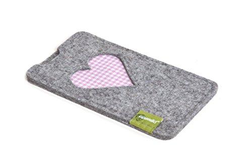 almwild® Custodia protettiva per Apple Iphone 8, 7, 6con Apple Pelle Case/Silicone Case. Modello gschbusi in grigio ardesia, colore: nero. Cassa fatta a mano in Baviera grigio chiaro