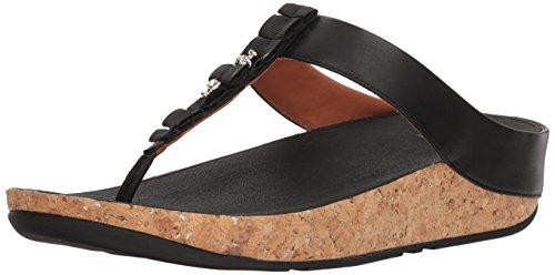 Fitflop Ruffle Toe-Thong Sandals, Sandali Punta Aperta Donna, Nero (Black 1), 38 EU