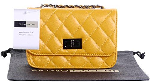 Borsa di cuoio italiano Design classico diamante forma borsa tracolla imbottita, con catena in metallo e cuoio, maniglie / tracolla include una custodia protettiva marca Small Yellow