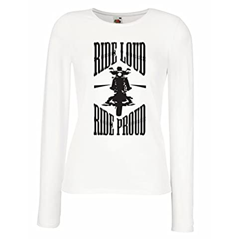 N4695M Manches longues Femme T-shirt Ride Loud! (X-Large Blanc