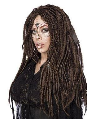 Mask Paradise - Vodoo Witch Langhaarperücke braun S-L Dreadlocks Pony Karneval Fasching