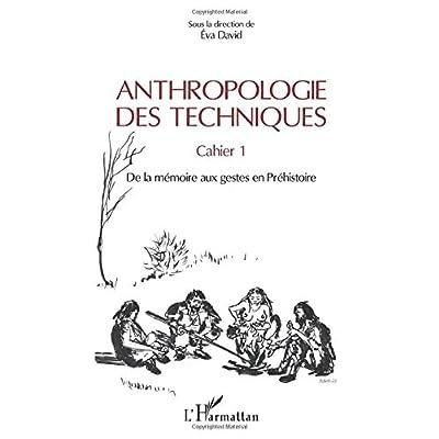 Anthropologie des techniques: Cahier 1. De la mémoire aux gestes en Préhistoire Sous la direction de Eva David
