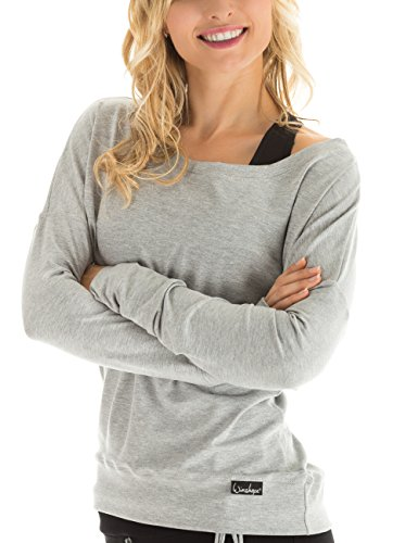 Winshape Damen Longsleeve Freizeit Sport Dance Fitness, Grau(GREY-MELANGE), L -