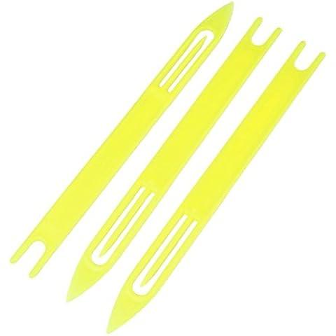 3 piezas de plástico amarillo red de pesca de la aguja de reparación de traslado de la bobina 8 #