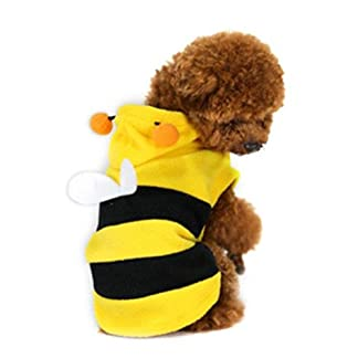 Demarkt Fashion Dog Cat Puppy Fleece Bumblebee Bee Hoodie Costume Clothes Pet Apparel Superdog Dress Up Pet Supplies Yellow and Black (XXL) 41spW7NLTdL