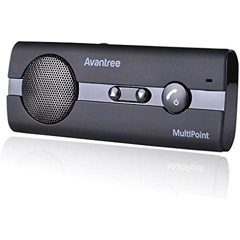 Avantree 10BP - Kit de Altavoces Manos libres para Coche / Automóvil Bluetooth 4.0, reducción de eco y ruido de fondo para la visera GPS y A2DP, música, universal, conectar dos