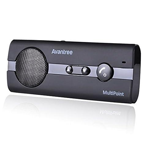 [2 Year Warranty] Avantree MULTIPOINT Bluetooth V4.0 Handsfree Visor Car Kit, Support GPS, Music, In Car Speakerphone for iPhone, Samsung