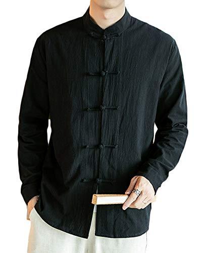 Baumwolle Mischung Anzug (Herren Retro Chinesischen Stil Hemden Mantel Baumwoll-Leinen-Mischung Stehkragen Jacke Tang Anzug Schwarz XL)