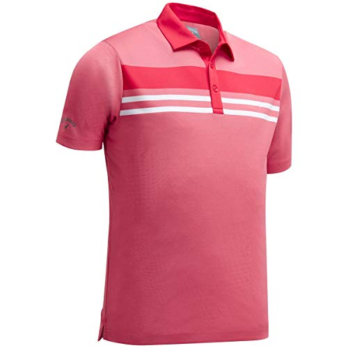 Callaway Herren Poloshirt Yarn Dye Chest Stripe, Pink (Rosa 649), Small -