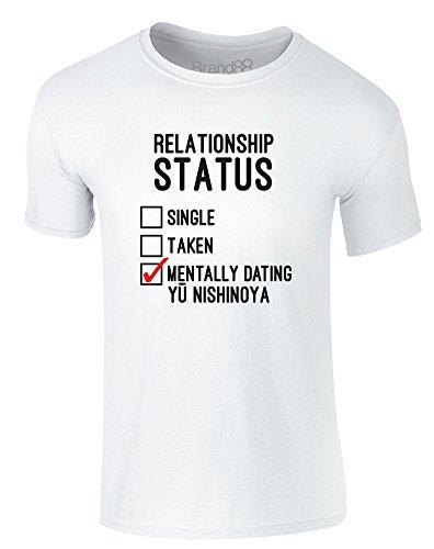 Brand88 - Mentally Dating Yu Nishinoya, Erwachsene Gedrucktes T-Shirt Weiß/Schwarz/Rote