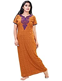 Bailey sells Women's Cotton Printed Maxi Nightgown (BAILEY1252_Mustard)