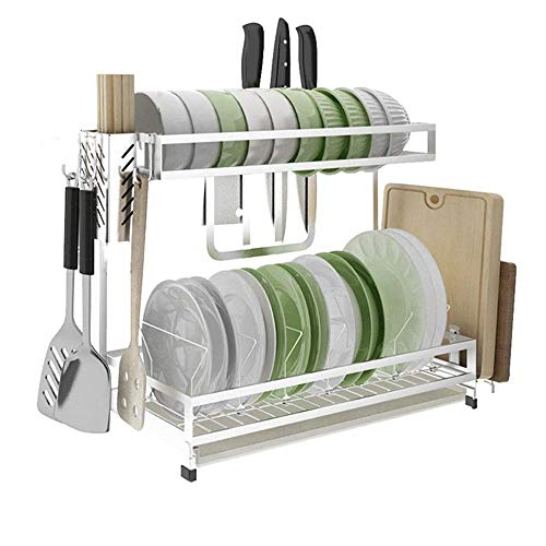 XLCFSN 2-Tier Dish Rack Dish Abtropfflächen Küchenwaren Lagerregal Abtropfgestell Mit Stäbchen/Messer/Schneidebrett (Size : 49x34x15.6cm) - Messer, Hut-pins