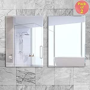 Art Street Wall Mounted Modern Frameless Bathroom Mirrors (16 x 24 Inch, Pack of 2)