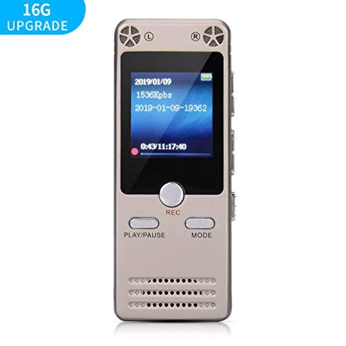SONGLANG 16GB Digitaler Diktiergerät Ton Audiorecorder Sprachrekorder mit MP3 Player, Wiederaufladbare, USB, 1536 Kbps, UKW Radio, Rauschunterdrückung Audiomikrofon für Vorträge, Besprechungen, Klass