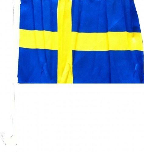 1 x Autofahne Autoflagge 45 x 30 Schweden Auto Fahne Fahnen Flagge Flaggen EM 2016 mit Halterung