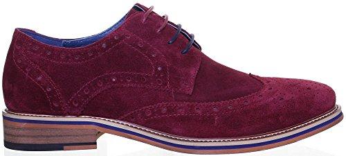 Justin Reece HAROLD 2pour Homme en daim Qualité supérieure chaussures richelieu à lacets en cuir Rouge - Burgundy 116