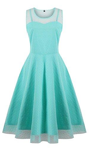 Oriention Damen Cocktailkleid Sexy Ärmellos Elegant 50er Jahre Rockabilly Kurz Kleid Große Größen Abendkleid Festliche Petticoat Kleid (44,Green)