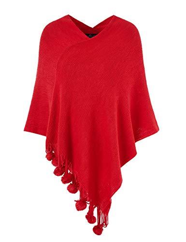 Ferand Damen Gemütlicher Warmer Poncho Pullover mit Mehrweg-Ausschnitt und Süßen Bommeln, One Size, Rot
