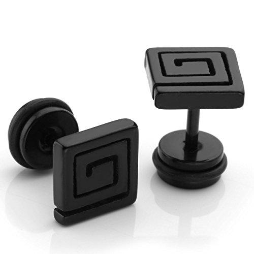 PiercingJ - 2PCS Boucles Clou d'oreilles Cartilage Motif Dédale Labyrinthe Rond Acier Inoxydable Bijoux de Corps Beaute Unisexe Noir