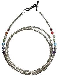 ShoreThing Unisexe Cuir Lunettes/lunettes de soleil/spectacle Chaîne Bois Marron Perles de bois: 28–76,2cm mais peut être faite sur mesure Marron/argenté
