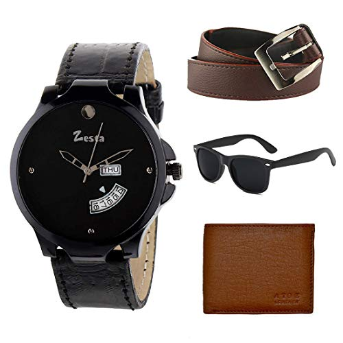 Zesta Combo Set of Black Leather Analog Watch with A Wallet, Belt and A Sunglass