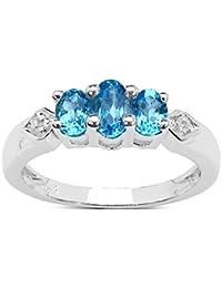 Natural Blue Topaz Silver Ring Emerald Cut Healing Birthstone Handmade Size H,I,J,K,L,M,N,O,P,Q,R,S,T
