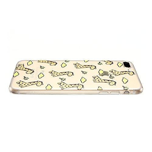 Coque iPhone 7 Plus (5.5 pouce) , TPU Transparente Noir Dentelle Case Slim Souple Étui de Protection Soft Cover Anti Choc Ultra Mince Silicone Couverture Motif Design Bumper Gel Anfire Housse pour iPh Girafe
