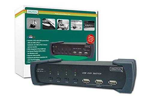 DIGITUS 4-Port KVM-Switch mit 3-Port USB 2.0 Hub, PS/2 &USB, VGA, bis zu 1920x1440 Pixel, Hot-Key / OSD