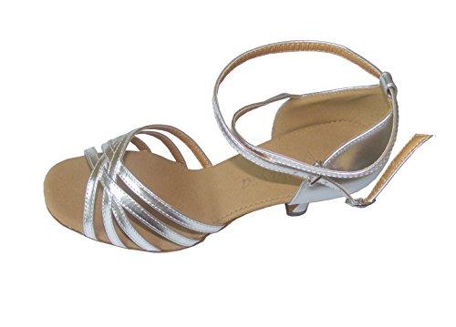 Colorfulworldstore Chaussures de danse latine pour dame en PU, couleur or argent Argent