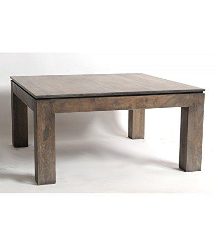 BELDEKO Table basse Carrée en Hévéa Huilé Grisé
