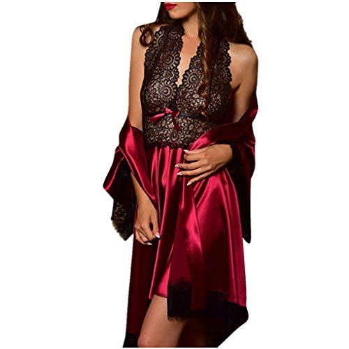 Dorical Damen 2pcs Dessous Die Seide Spitze Robe Kleid Puppe Nachthemd Nachtwäsche Kimono Einstellen Sexy Sling Nachthemd Nachtwäsche Seide Spitze Kleid Babydoll Nachthemd(Wein-3,Small)