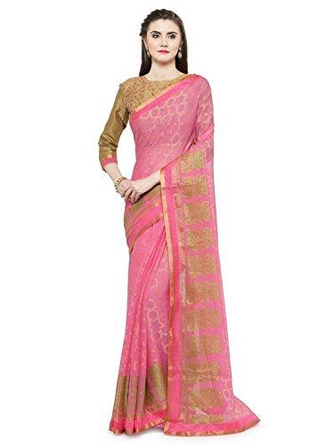 Shaily Retails Women'sPink Brasso Printed Sarees (RAHI22510SSSR001T_Pink)