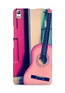 AMEZ designer printed 3d premium high quality back case cover for Lenovo A7000 (pink door guitar)